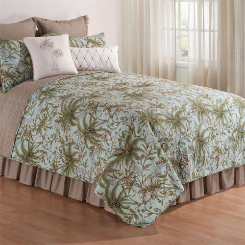 Barbados Queen Quilt, C and F Home, palm trees on a light blue background create visions of a tropical Caribbean paradise