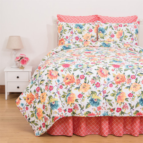 Summer Quilt Set, Queen Quilt and 2 Shams, C and F Home, colorful flowers everywhere, pink, red, yellow, blue, a perpetual summer of blossoms