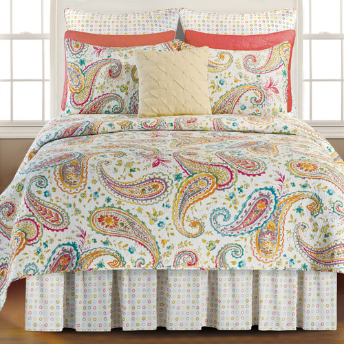 Adalynn Queen Quilt, C and F Home, a multi-colored teardrop shaped motif known as paisley, and today called Boho-chic, on a crisp white background