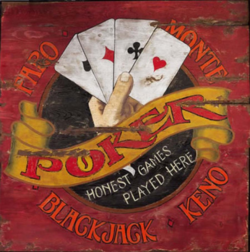 Faro & Poker played here, Red Horse Signs, vintage woos art, image of hand holding four aces on red  background
