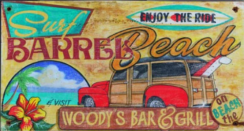 Woody Surf, Red Horse Signs, vintage art on distressed wood, an old-fashioned woodie station wagon with a surfboard hanging out the rear window