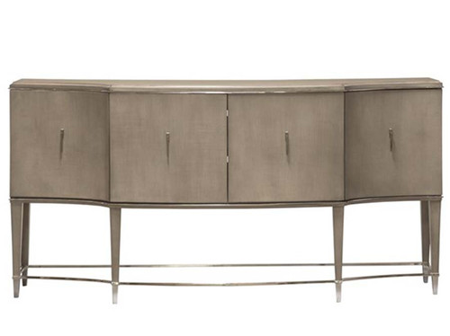 Vallone Console, Vanguard Furniture, P649SC. Finish: Silverthorne. Polished Stainless Hardware and Accents. Also available: Artisan Mirror, Artisan Finishes, MIY paint colors, Leafed and other custom finishes