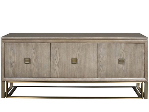 Wallace Console, Vanguard Furniture, As shown - Finish: Silverthorne. Hardware: Satin Brass Base and Pulls