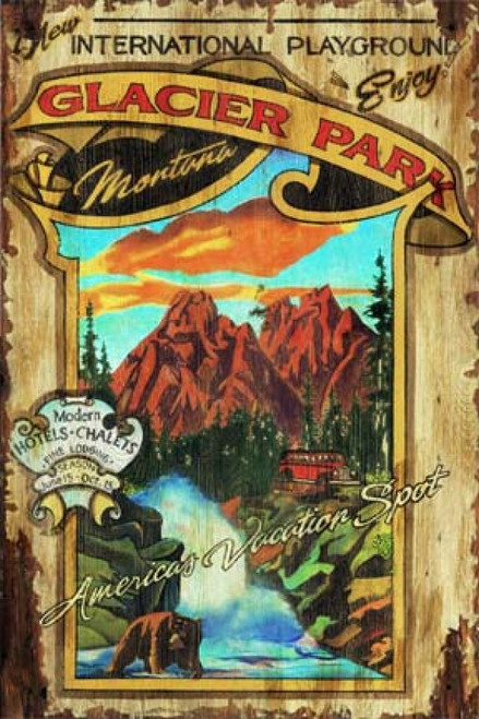 Glacier Park Montana, Red Horse Signs, vintage art on distressed wood, a beautiful view of the mounains, the sky, the trees, and a Grizzly