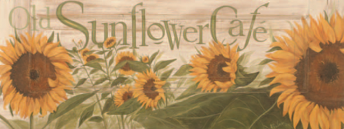 Old Sunflower Cafe, Red Horse Signs, vintage art on distressed wood, measures approx.  image of large sunflowers on tan background