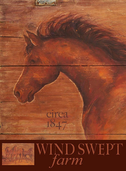 Wind Swept Farms, Red Horse Signs, Terri Palmer, vintage art on wood, beautifully painted horse on red-brown background
