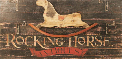 Rocking Horse Antiques,Red Horse Signs, vintage art by Terri Palmer, rustic image of rocking horse on dark background