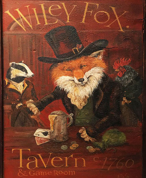 Wiley and Friends, Red Horse Signs, vintage art by Terri Palmer, Red Fox, badger, and rooster, all dressed in colonial clothes gamble and drink beer at the tavern