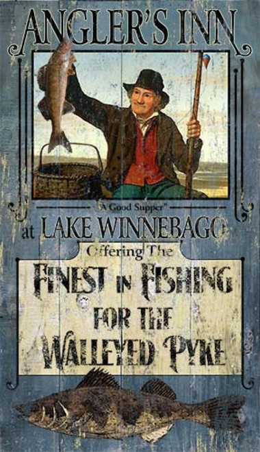 Fishing Walleye, Red Horse Signs, Angler's Inn, fisherman hauls in a great catch, a walleyed pyke at Lake Winnebago