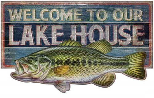 Bass Welcome, Welcome to Our Lake House, Red Horse Signs,  large image of bass on blue background
