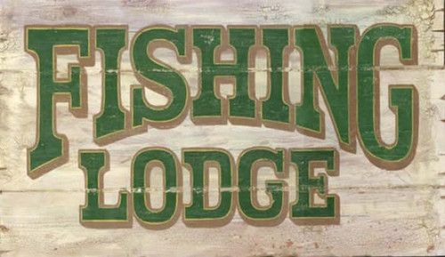 Fishing Lodge, Red Horse Signs, vintage art on wood, green letters on off white background