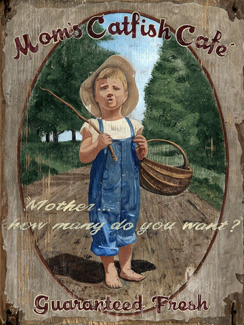 Catfish Cafe, Red Horse Signs, vintage art on distressed wood, image of little boy in straw hat asking mom how many fish should he catch