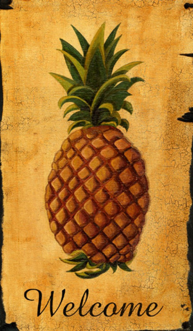 Pineapple Welcome, Red Horse Signs, vintage art on distressed wood, in the American colonies, fresh, dried, and candied fruits were used as desserts and the pineapple's crowned fruit, shipped by schooner from the Caribbean Islands, became a sign of welcome, friendship, and hospitality