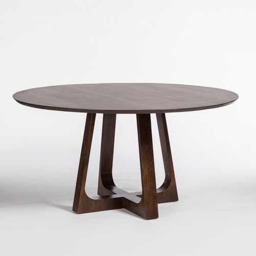 Havana Round Dining Table, Alder & Tweed, tapered edge top, sleek geometric base