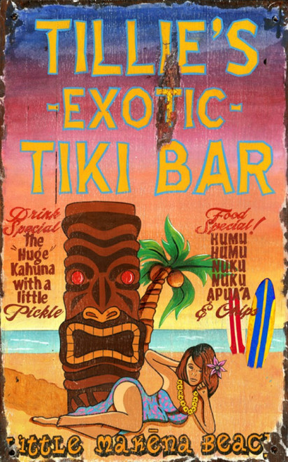 Tillies Tiki Bar, Red Horse Signs, vintage art on distressed wood, sandy beach, palm tree and beautiful girl