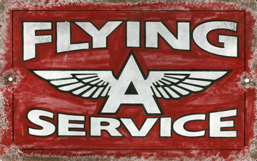 Vintage Flying A gas sign printed on a distressed wood panel, Red Horse Signs, the historic Tidewater Oil Company signature sign is a must for the Man Cave and Auto Enthusiast