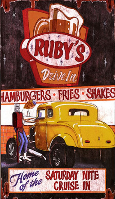 Ruby's Drive In, Red Horse Signs, vintage art on distressed wood, old fashioned dive-in featuring a frosty mug of root beer on the sign, an attendant on roller skates and a yellow Little Deuce Coupe