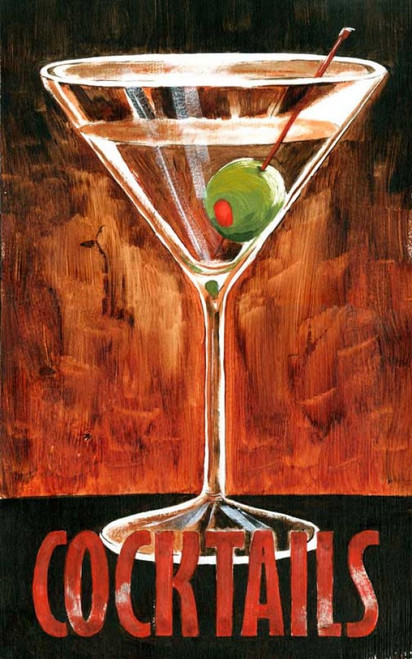 Martini, Red Horse Signs, vintage art on distressed wood, classic martini glass with olive on red and black background