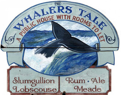 Whaler's Tale, a Public House, Red Horse Signs, vintage art on distressed wood,  serving steaming hot bowls of Slumgullion and Lobscouse, washed down with rum, ale, and meade