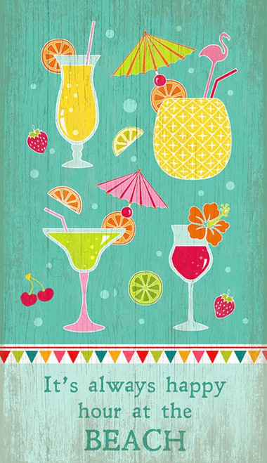 Happy Hour, Susanne Nicoll's playful image of cocktail drinks printed directly to a distressed wood panel, perfect for the bar or lounge