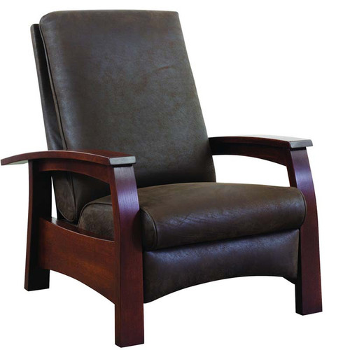 Highlands Recliner, oak, 89-989-RL; cherry, 91-989-R, graceful bow arm, a sleek contemporary version of the classic Morris Chair