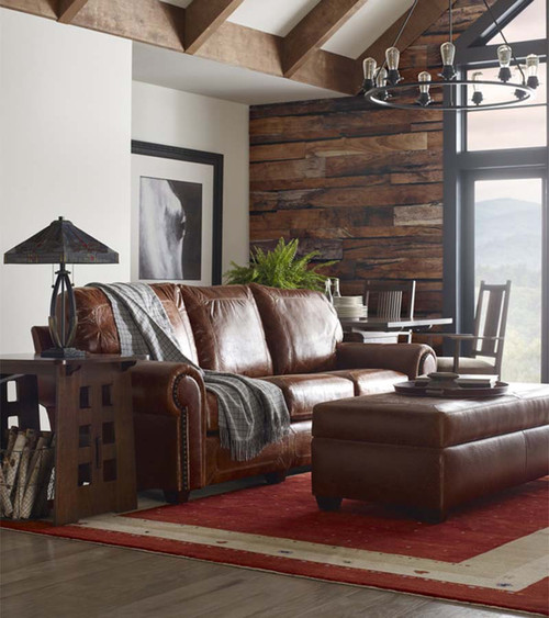 Santa Fe Leather Sofa and ottoman, Stickley and Craftsman Leather, plush cushions, deep seat, rich leather, cabin view