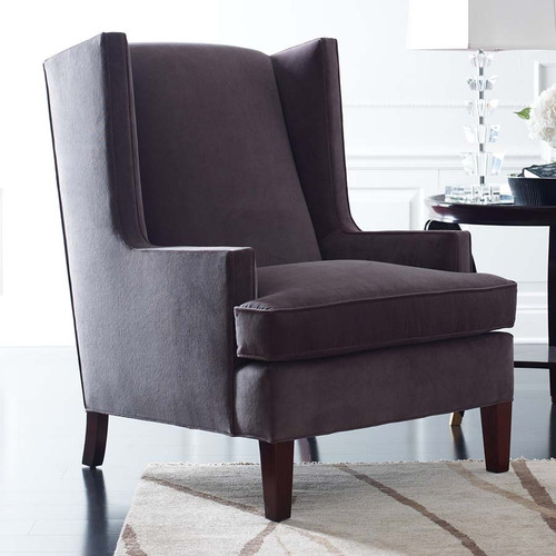 Stickley, Port Royal Wing Chair, contoured block arm and wing, high back lounge chair, room view right facing