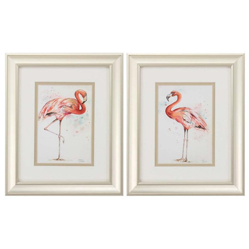 Pink flamingos strut and show off their finery in this set of two images, perfect for the beach house