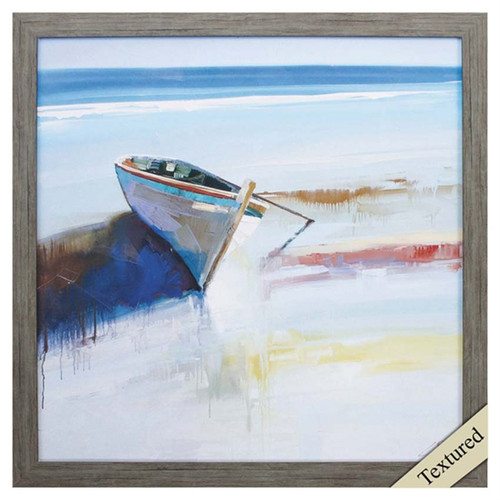Low Tide, a row boat on the shore in basic brushstrokes of red, white, yellow and blue and dark gray, a minimalist point if view, a point of departure and return at the lake of oceanside