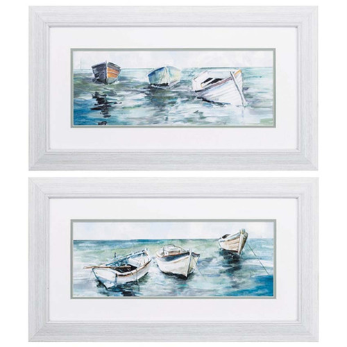 Caught at Low Tide, a soft pastel image of row boats on the lake or ocean shore at low tide, Propac Images