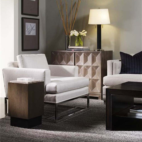Kip Chair, Vanguard Furniture, Michael Weiss Collection, metal and fabric, room view with console