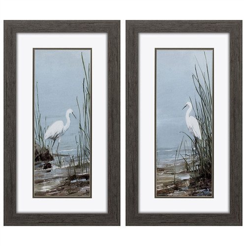 Propac Images, set of 2, #2879 Snowy Egrets Dimensions: H 16,  W 28, D 1 inch Framed print, double mat, under glass Impressionist Art, Nature