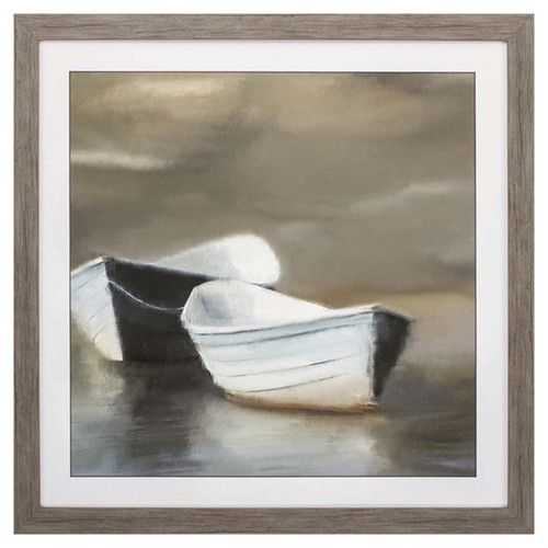 Boat Friends, Propac Images, serene study in brown, blue, and white of two row boats