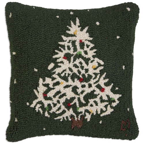 Chandler 4 Corners, Deep Winter Tree with Lights Hooked Wool Pillow dark green background