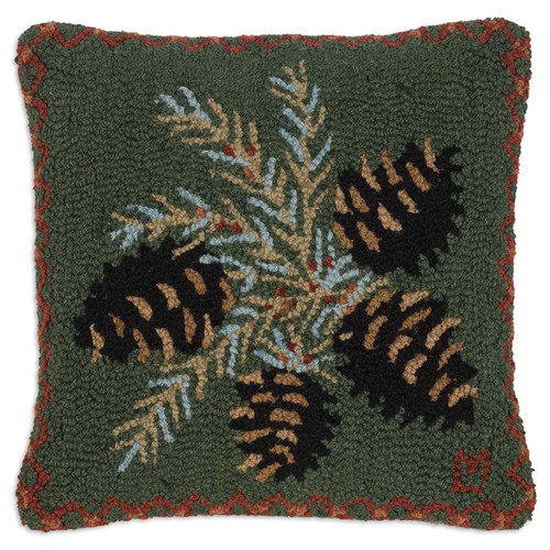 "Chandler 4 Corners, Diamond Pinecone, 18"" Hooked Wool Pillow, cluster of pine needles and cones, dark green background"