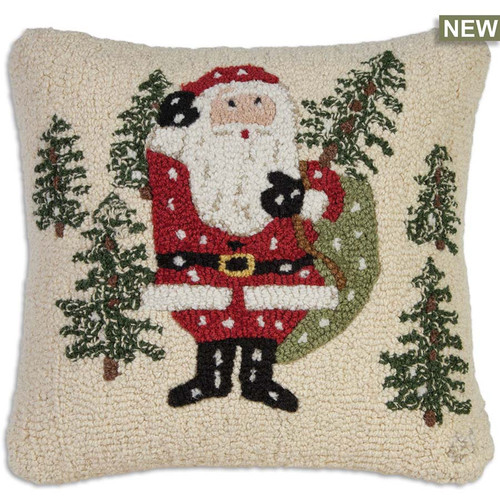 "Chandler 4 Corners, Santa Picks-A-Tree 18"" Hooked Wool Pillow"