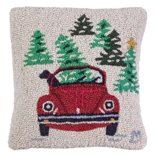 "Chandler 4 Corners, Dog in VW 18"" Hooked Wool Pillow - a favorite memory, holidays and college days, a Volkswagen and a dog, looking for a Christmas tree"