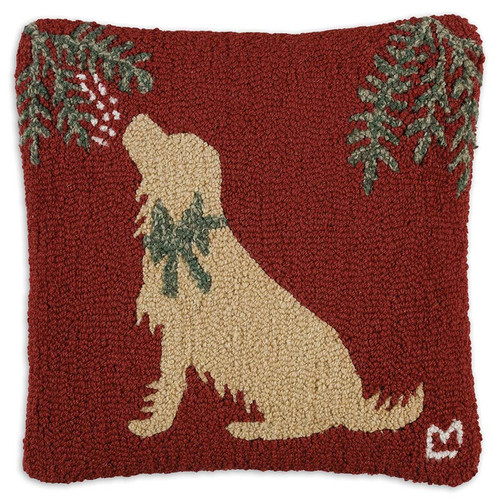 "Chandler 4 Corners, Golden Mistletoe, 18"" Hooked Wool Pillow - a Golden Retriever, decked out in a green bow, sits patiently under the Mistletoe waiting for a kiss"