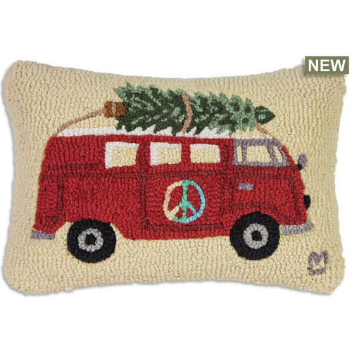 Chandler 4 Corners, Peace At Christmas Hooked Wool Pillow. Peace out! A red V-Dub van has a green Xmas tree on top. Red, green, and white hooked wool peace pillow creates a whimsical holiday mood
