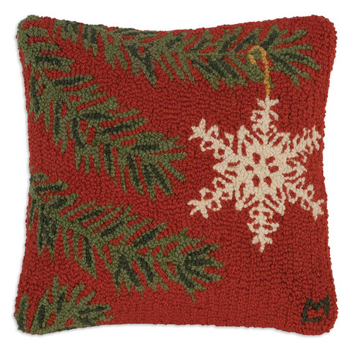 "Chandler 4 Corners, Ornament Flake 18"" Hooked Wool Pillow, the classic white snowflake ornament looks so charming hanging on the Christmas tree, as will this red, white, and green pillow in the home"