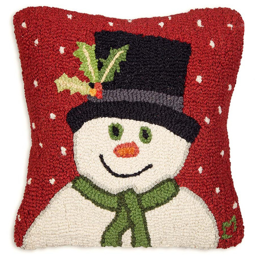 Snowman With Top Hat Hooked Wool Pillow, there must be magic under that hat - this adorable Snowman designed by Laura Megroz will delight friends and family of all ages