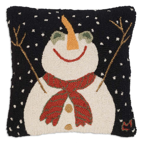 Chandler 4 Corners, Let It Snow Hooked Wool Pillow, a smiling snowman is thrilled with the fresh snowfall
