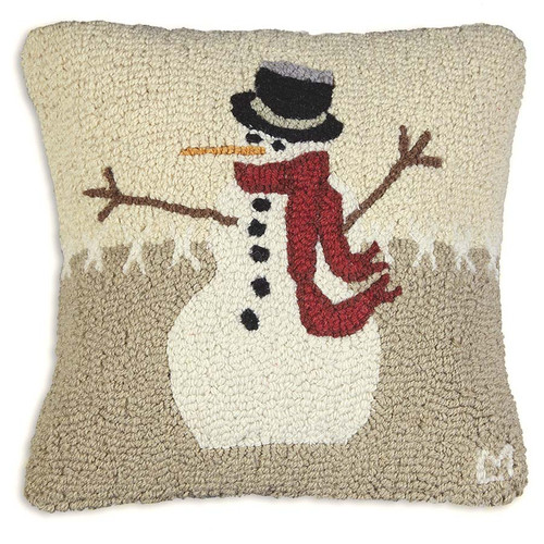 Chandler 4 Corners, Snowman in Stitches Hooked Wool Pillow, cute and cozy, white, beige, tan, and red, add a little frozen comfort to your decor with this adorable hand hooked wool design by Laura Megroz