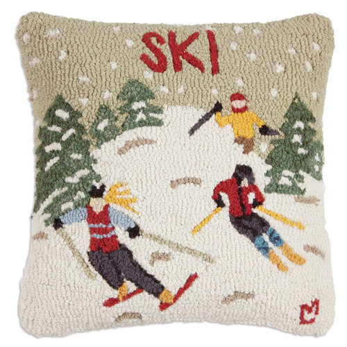Chandler 4 Corners, Ski Country Hooked Wool Pillow, three skiers race down the mountain side through trees and falling snow