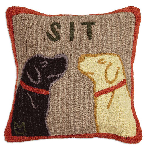 Chandler 4 Corners, Sit, Hooked Wool Throw Pillow, Black or Yellow labs, your faves, nose to nose, behaving