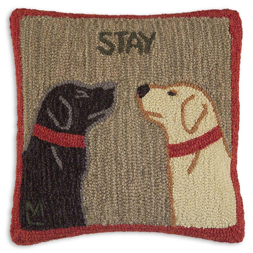 Chandler 4 Corners, Stay There 18 inch Hooked Wool Pillow, Black or Yellow Lab dogs, Like the popular Sit pillow, this one has both of your faves, nose to nose