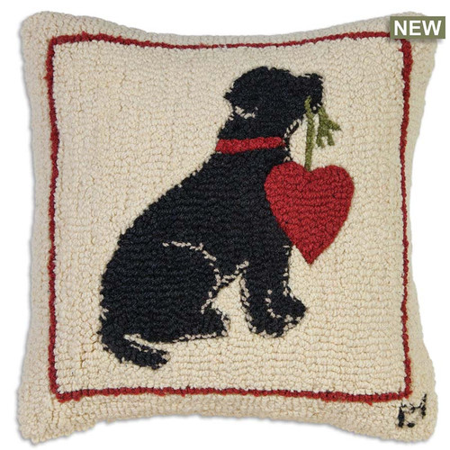 "Chandler 4 Corners, My Heart On A String 18"" Hooked Wool Throw Pillow, black Lab holds the string to a large red heart, white background, red border"