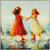 Circle of Two, Paragon Art, two blond girls in long flowing dresses holding hands, dominant colors reds, yellows and blues