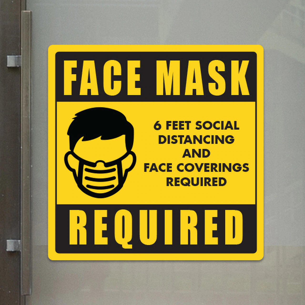 """Face Mask Required -10"""" x 10"""" Styrene Sign"""