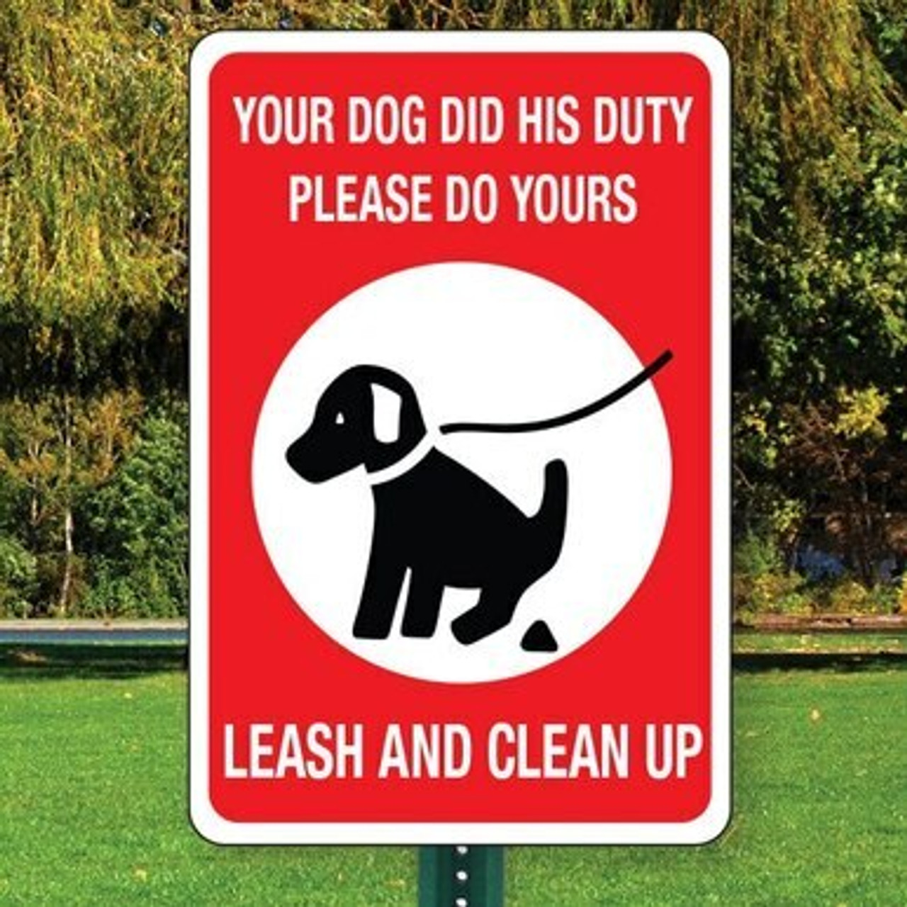 "Leash & Clean Up Sign  12"" x 18"" Aluminum"